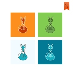 Fox single flat autumn icon vector