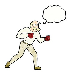 Cartoon retro boxer man with thought bubble vector