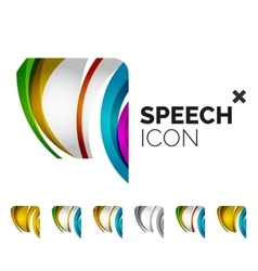 Set of abstract speech bubble and cloud icons vector
