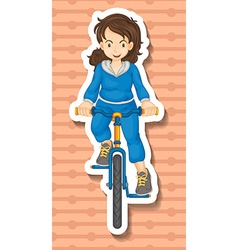 Woman in jumpsuit riding bicycle vector