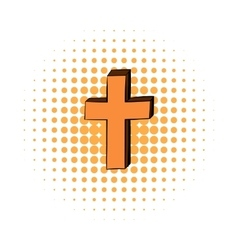 Christian cross comics icon vector