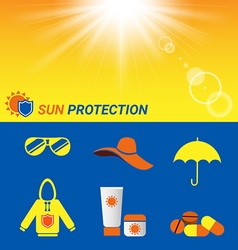 Item for sun protection and sun shine background vector
