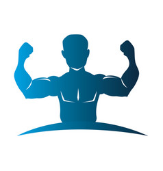 Blue silhouette half body muscle man vector