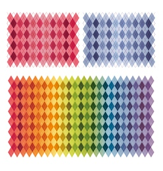 Colorful rainbow argyle background collection set vector