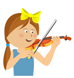 cute little girl with string playing violin vector image vector image