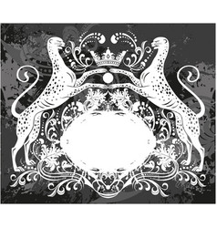 Decorative frame with crown and cheetah vector
