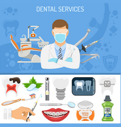 Dental services banner vector