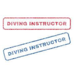 Diving instructor textile stamps vector