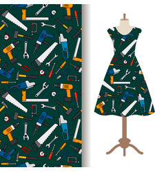 Dress fabric pattern with construction tools vector