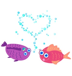 Fish love vector