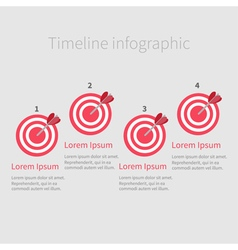 Infographic Timeline four step round circle target vector image