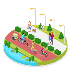 isometric city park composition with running woman vector image vector image