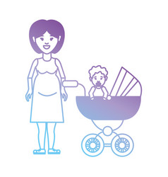 line mother with her daugther inside stroller vector image vector image