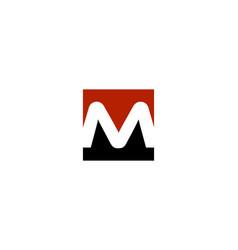 m letter cube logo vector image