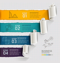 Modern infographics template torn paper style vector image vector image