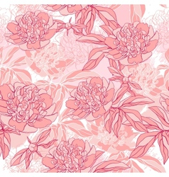 pattern with peony and foliage Hand drawn vector image vector image