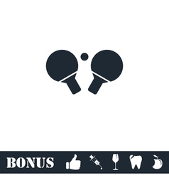 Ping pong icon flat vector image vector image