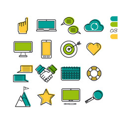 Set linear work process colored icons vector