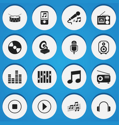 set of 16 editable sound icons includes symbols vector image