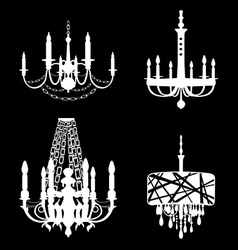 Set of chandelier icons vector image vector image