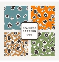 Set of seamless patterns with bones skulls vector