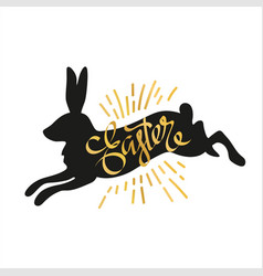 silhouette of a black rabbit with a handwritten vector image vector image