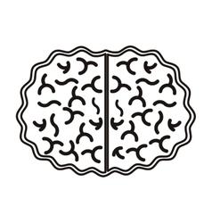 silhouette view top brain in monochrome color vector image