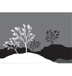 Silhouettes of tree in snow vector