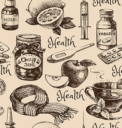 Sketch healthy and medical vintage seamless vector