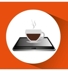 smartphone black lying cup coffee icon design vector image