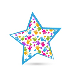 Star and colored hands logo vector image vector image