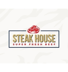 Steak House Typography Label Emblem or Logo vector image