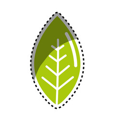 sticker green leaf environment care icon vector image