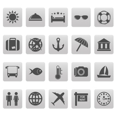 Travel icons on gray squares vector image vector image