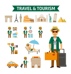 travel to world flat design vector image vector image
