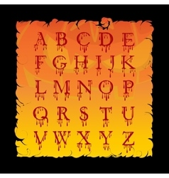 Bloody alphabet letters halloween cartoon style vector
