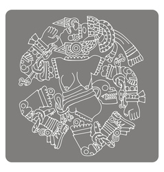 icon with Coyolxauhqui aztec goddess of the moon vector image