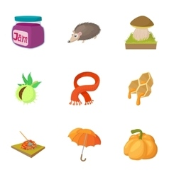 Autumn coming icons set cartoon style vector