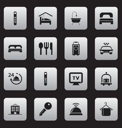 Set of 16 editable hotel icons includes symbols vector