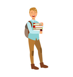 Smiling student with school backpack holding vector
