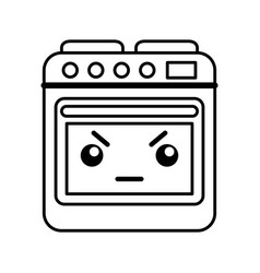 Kawaii oven cartoon vector