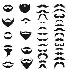 Set of black icons of beards and mustaches vector