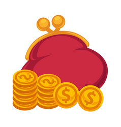Thick red purse and gold coins isolated vector