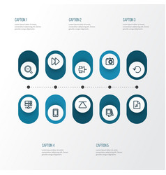 Multimedia outline icons set collection of eject vector