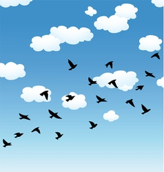 birds and clouds in the sky vector image