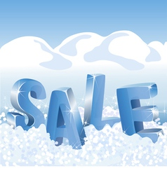 Winter sale blue tags in white snow vector