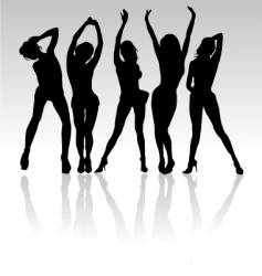 Women party silhouettes vector