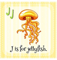 Flashcard letter J is for jellyfish vector image