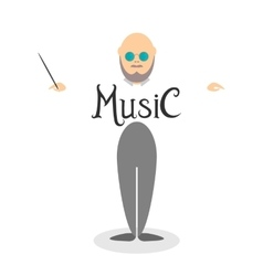 Character of musician conductor vector