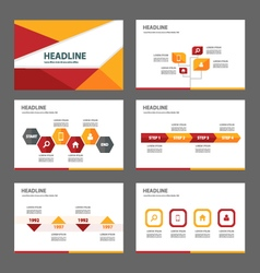Red orange presentation templates infographic set vector